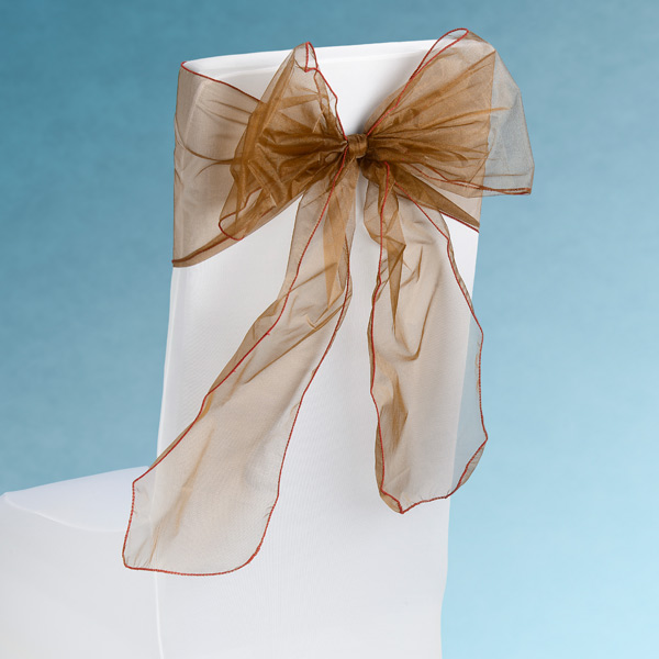 Sheer Chocolate Brown Chair Sashes Event Planners Surrey