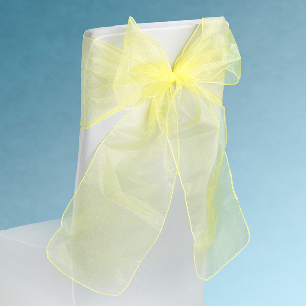 Sheer Yellow Chair Sashes Event Planners Surrey