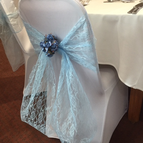 Lace Blue Chair Sashes Event Planners Surrey